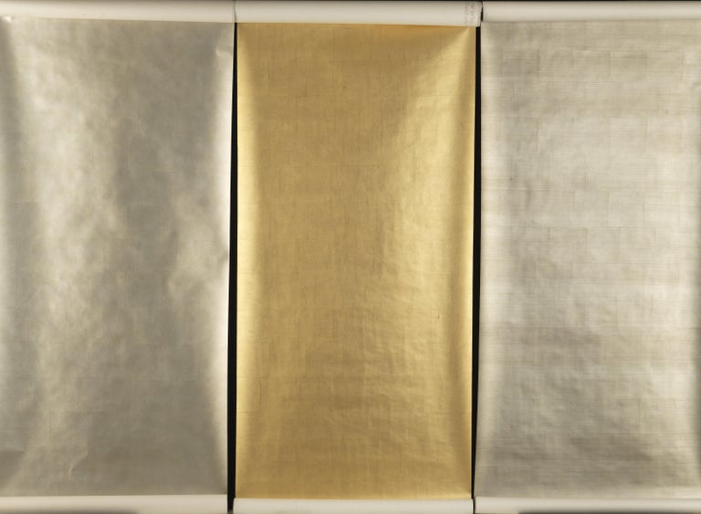 Chinese Gracie Pewter Tea Leaf Wallpaper Rolls For Sale