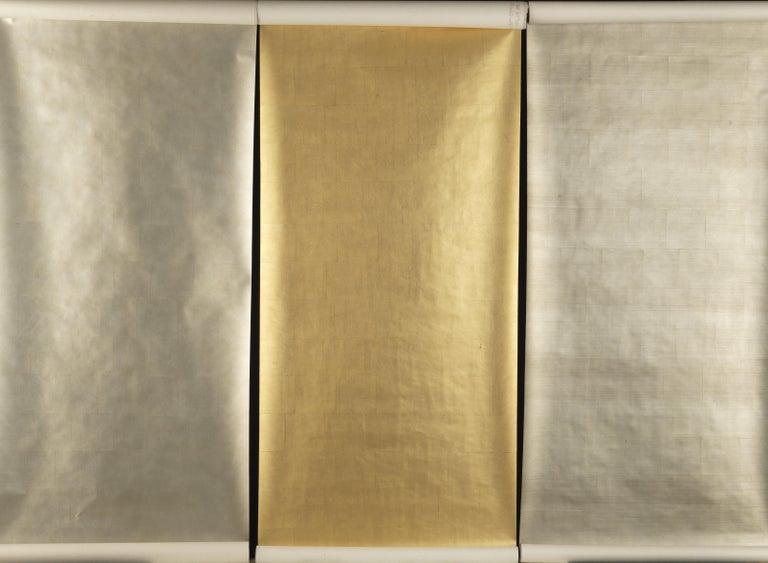 Gracie Pewter Tea Leaf Wallpaper Rolls For Sale At 1stdibs
