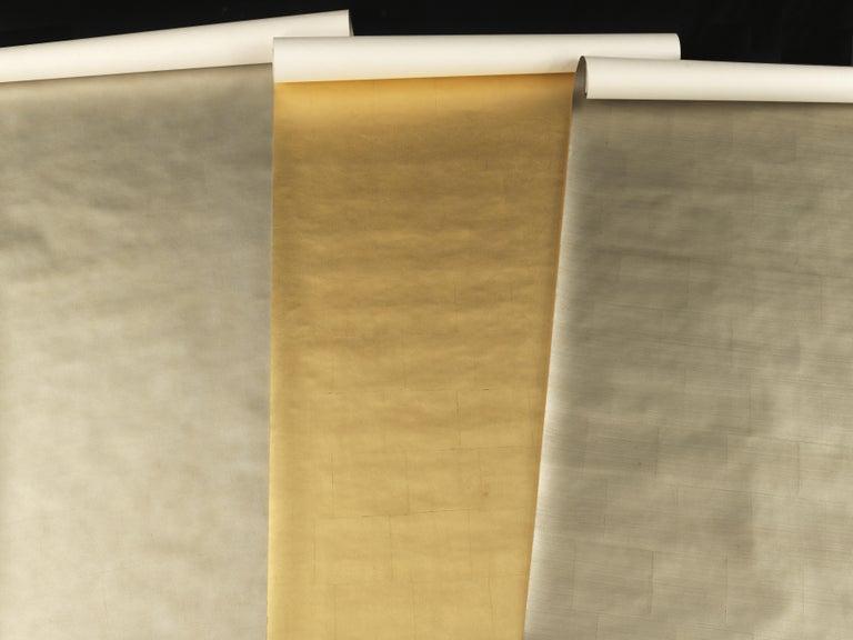 Burnished Gracie Pewter Tea Leaf Wallpaper Rolls For Sale