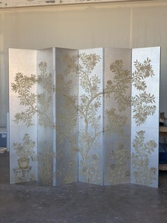 Gracie Six Panel Silver Handpainted Screen