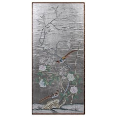 Gracie Style Silvered Wall Paper with Exotic Birds and Bamboo