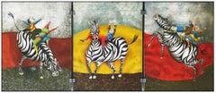 Graciela Boulanger 3 Color Lithograph Droles De Zebres Children Zebra Signed Art