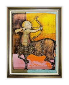 Graciela Rodo Boulanger Original Sagittarius Signed Zodiac Color Lithograph Art
