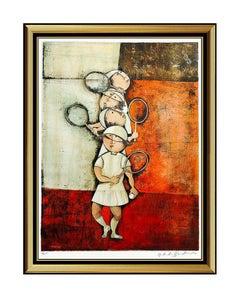 Graciela Rodo Boulanger Tennis Lithograph Original Signed Female Children Art