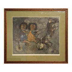 Modern Abstract Lithograph of Two Children with a Horse Cart Ed. 100/100