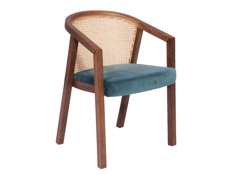 Fabric Gradeada Brazilian Contemporary Wood and Straw Chair by Lattoog For Sale