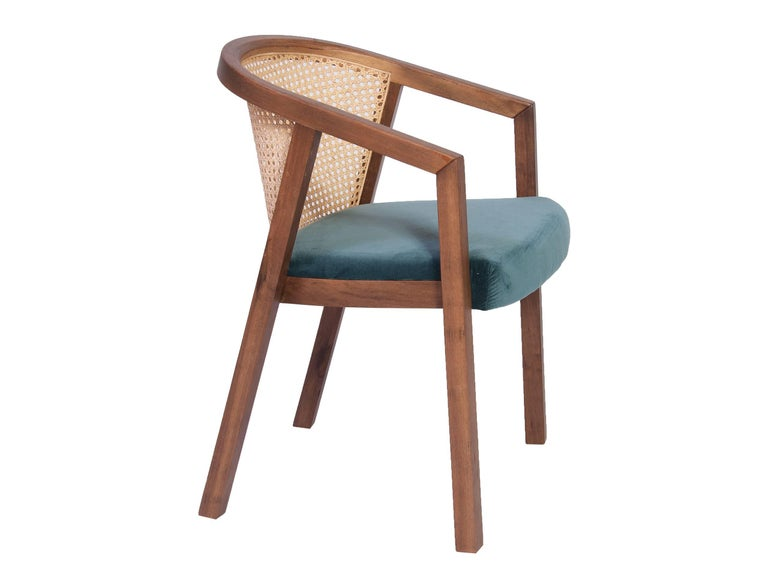 Gradeada Brazilian Contemporary Wood and Straw Chair by Lattoog For Sale 1