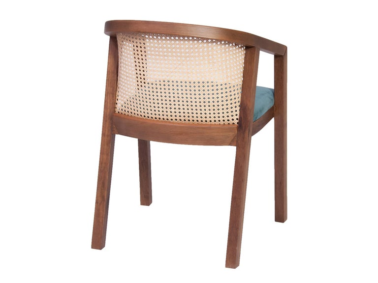 Gradeada Brazilian Contemporary Wood and Straw Chair by Lattoog For Sale 2