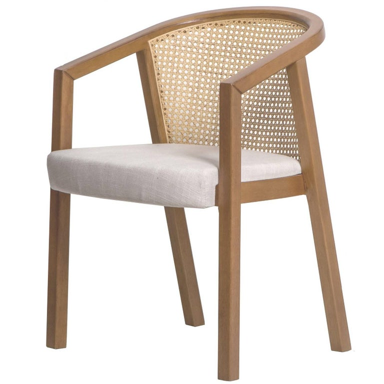 Gradeada Brazilian Contemporary Wood and Straw Chair by Lattoog For Sale
