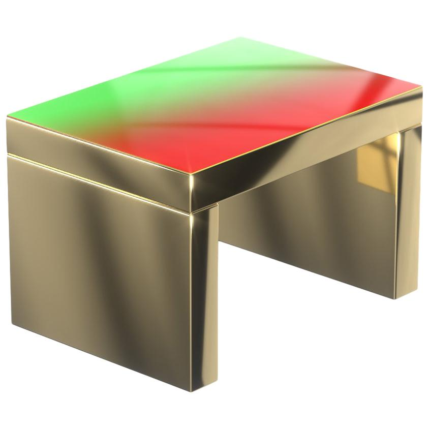 Gradient Bench/Coffee Table Red-Green Gaby Aluminium by Chapel Petrassi