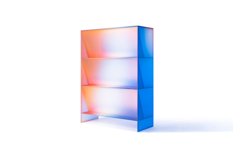 Gradient Color Glass High Display Case by Studio Buzao For Sale 5
