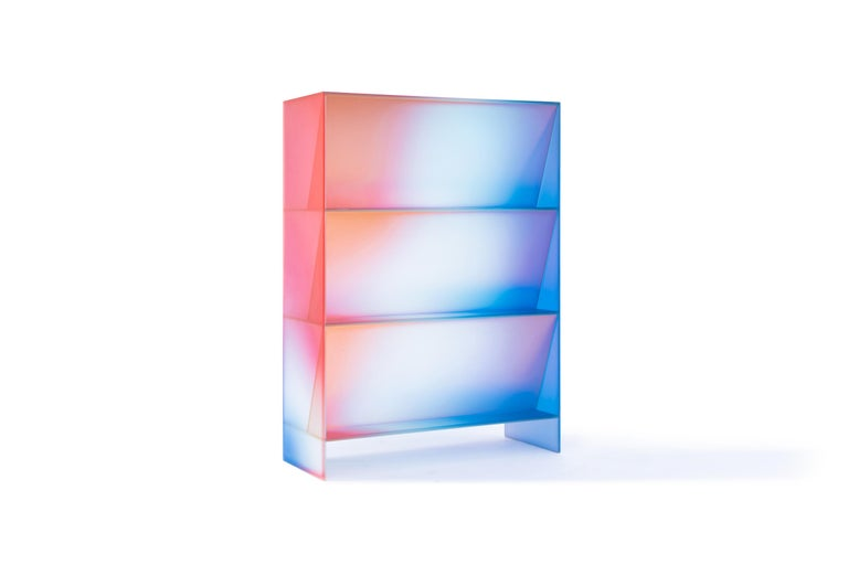 Gradient Color Glass High Display Case by Studio Buzao For Sale 7