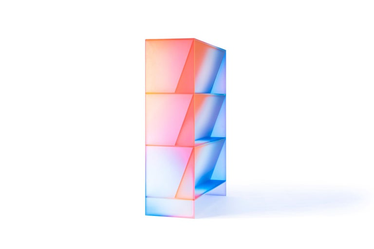 Gradient Color Glass High Display Case by Studio Buzao For Sale 9