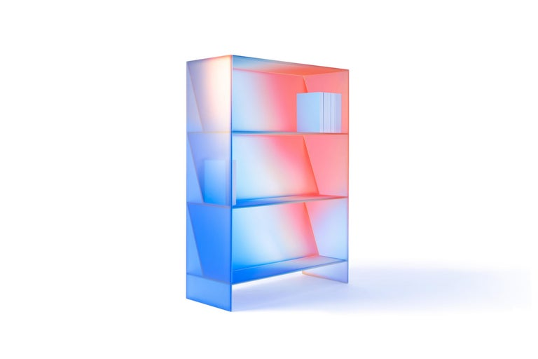Gradient Color Glass High Display Case by Studio Buzao For Sale 15