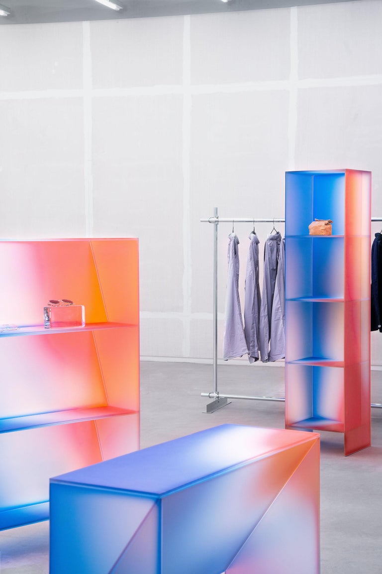 Chinese Gradient Color Glass High Display Case by Studio Buzao For Sale