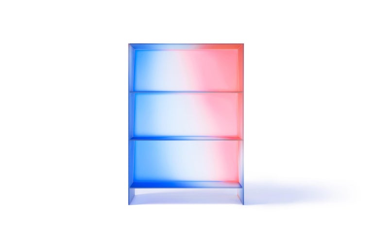 Gradient Color Glass High Display Case by Studio Buzao In New Condition For Sale In Los Angeles, CA