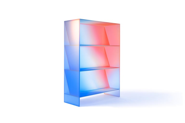 Contemporary Gradient Color Glass High Display Case by Studio Buzao For Sale