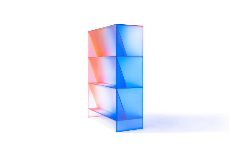 Gradient Color Glass High Display Case by Studio Buzao For Sale 4