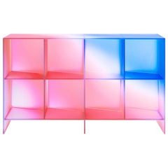 Gradient Color Glass Low Display Case by Studio Buzao
