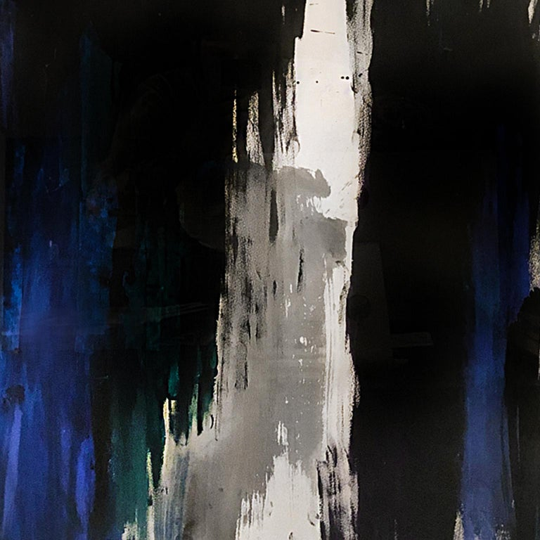 Blue, black, and green abstract painting on paper by Jenna Snyder-Phillips, 2013.
