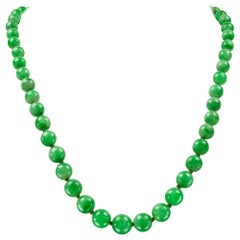 Graduate Jadeite Jade Bead Necklace with Art Deco Clasp