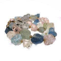 Graduated Aquamarine and Morganite gemstone Necklace