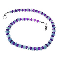 Gemjunky Graduated Aquamarine Rondelles and Amethyst Necklace March Birthstone