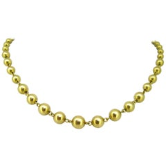 Graduated Beaded Yellow Gold Chain Link Necklace