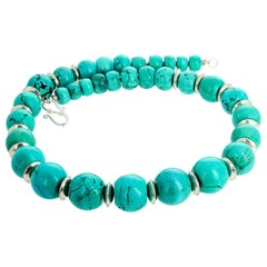 Graduated Blue Turquoise Rondel Necklace