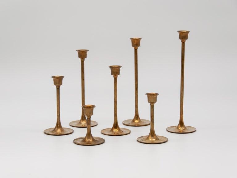 Brass Candlestick Holders Graduated Height Set of Seven