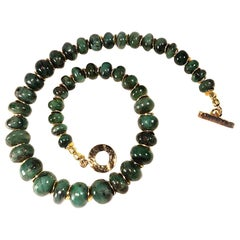 Graduated Emerald Rondel Choker Necklace with Gold Vermeil Clasp