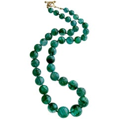 Graduated Hand Knotted Emerald Necklace 14 Karat Gold Toggle, Esme Necklace