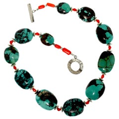 Gemjunky Graduated Hubei Turquoise Nugget Necklace with Orange & Silver Accents