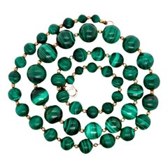 Graduated Malachite Bead Necklace Accented by Gold Filled Beads