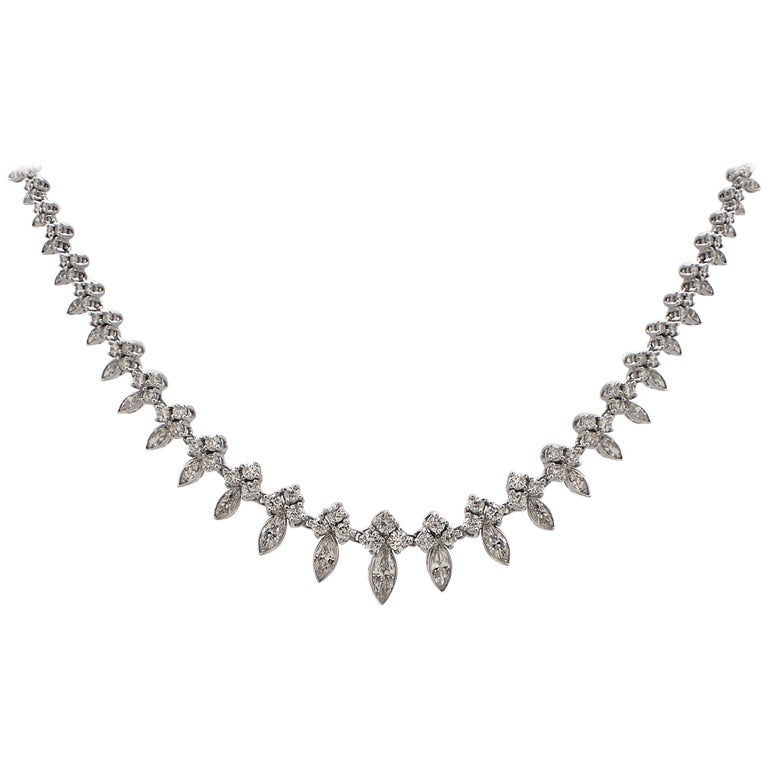 Graduated Marquise and Round Diamond Necklace For Sale