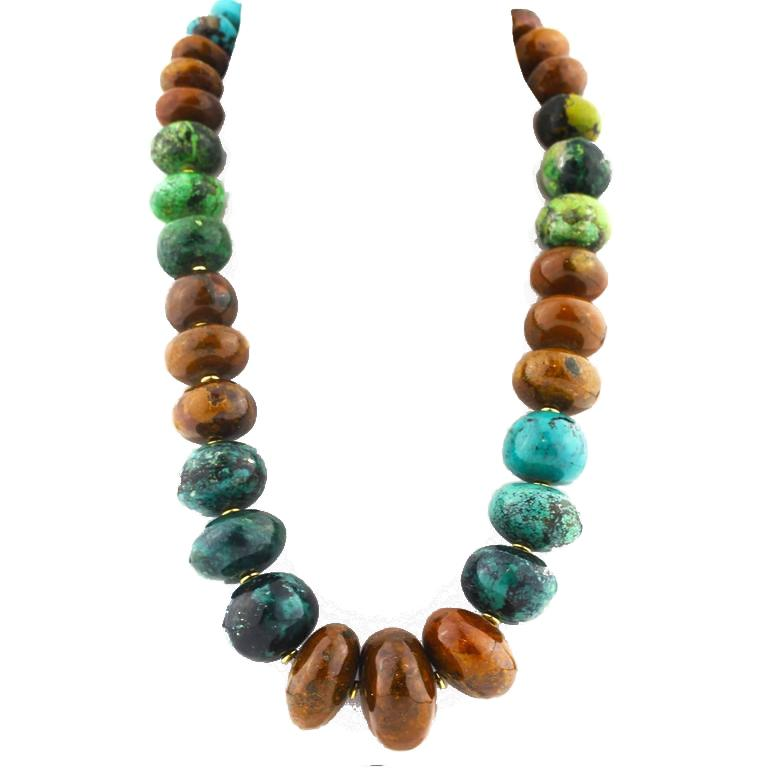 Graduated Multi-Color Polished Natural Turquoise Rondelle Necklace In New Condition For Sale In Tuxedo Park , NY