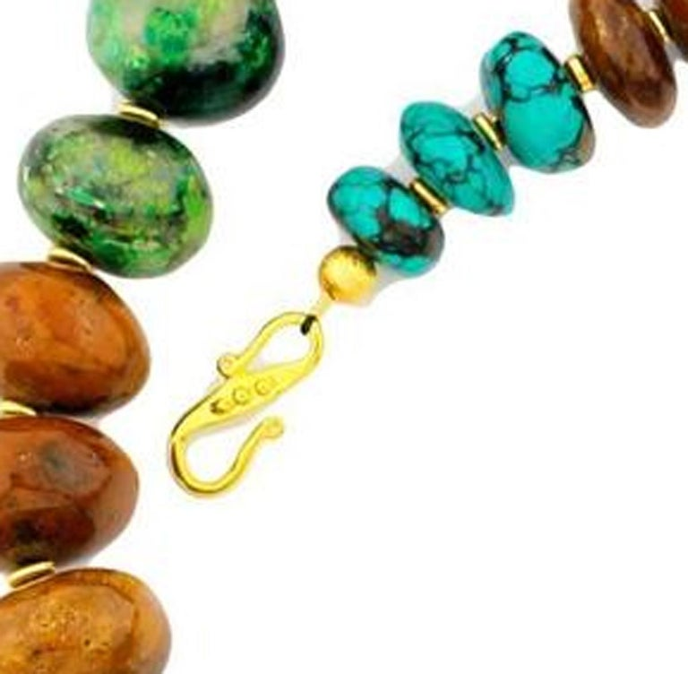 Women's or Men's Graduated Multi-Color Polished Natural Turquoise Rondelle Necklace For Sale