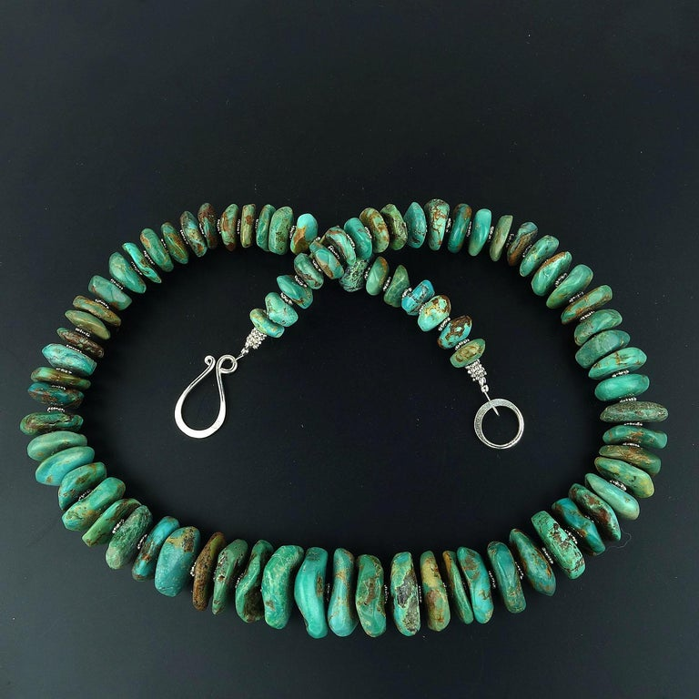 Artisan Graduated Natural Turquoise Rondel Necklace For Sale
