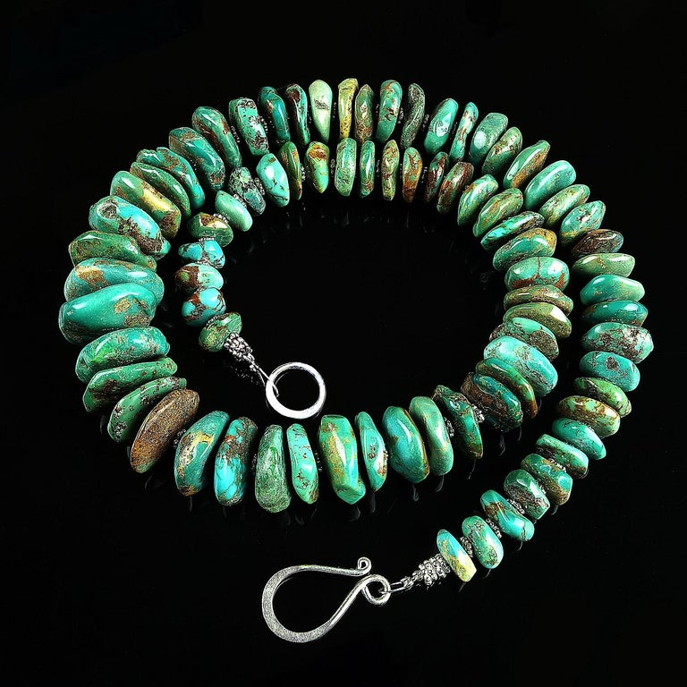 Graduated Natural Turquoise Rondel Necklace For Sale 2