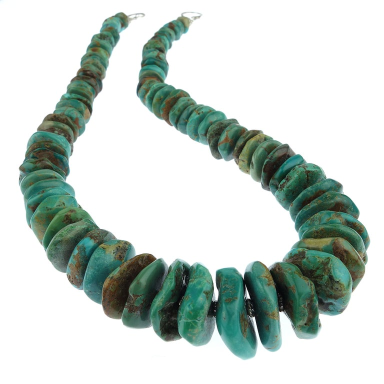 Graduated Natural Turquoise Rondel Necklace For Sale