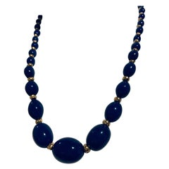 Graduated Oval Lapis Lazuli and 14K Gold Bead Necklace