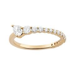 "Graduated Pear & Round ""Guler"" Diamond Ring by Selin Kent"