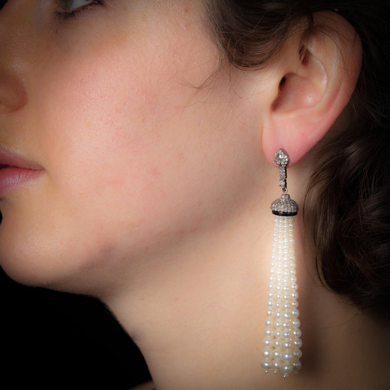 Women's or Men's Pearl and Diamond 18 Karat Gold Tassel Dangle Earrings For Sale