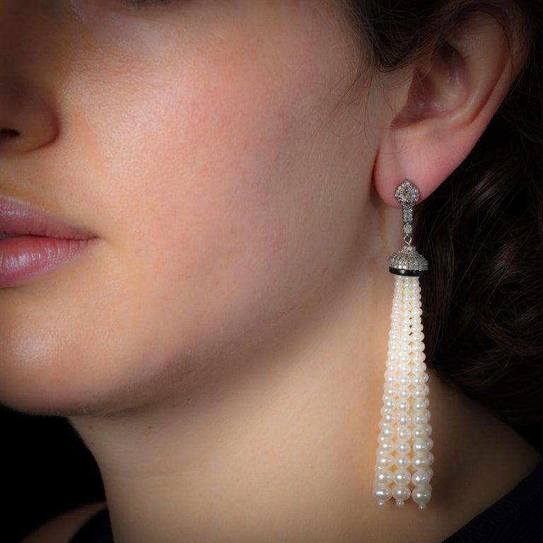 Pearl and Diamond 18 Karat Gold Tassel Dangle Earrings For Sale 1