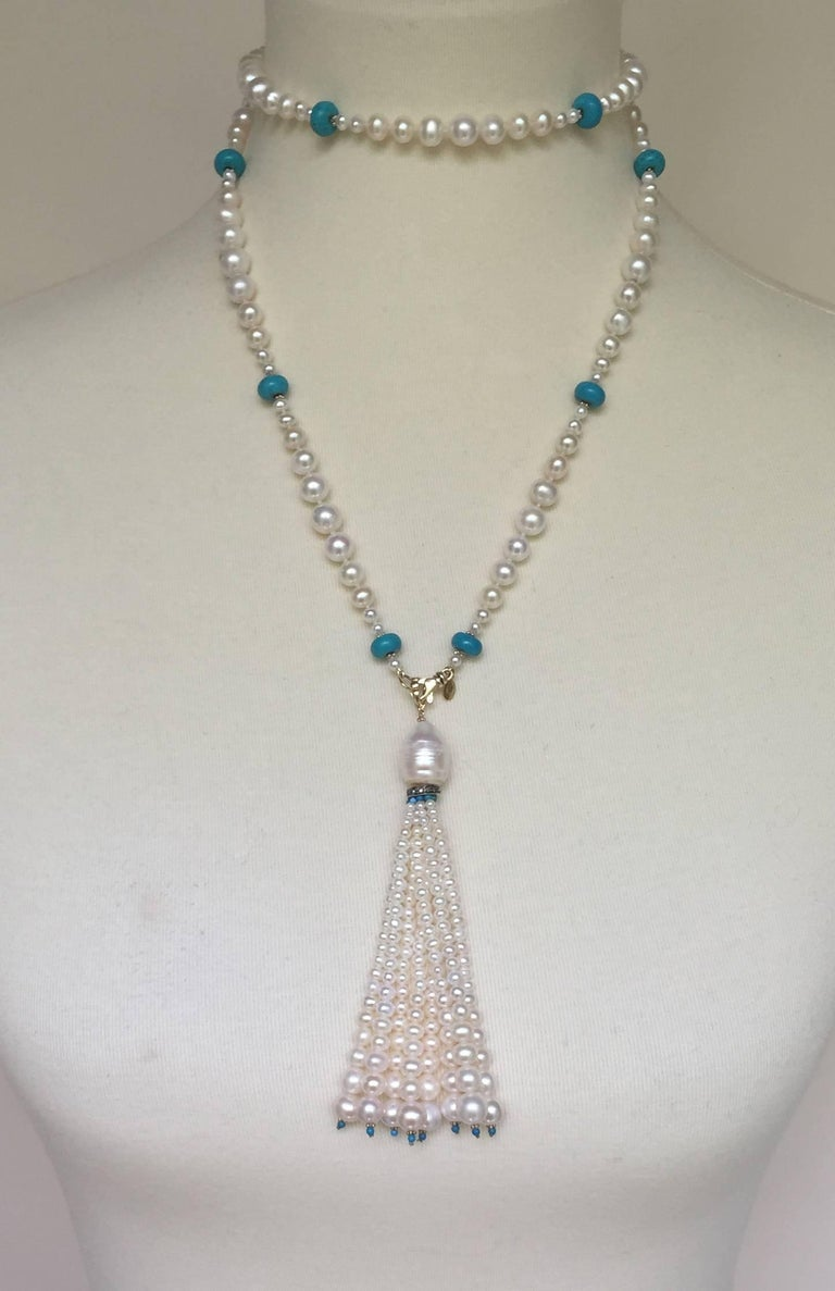 Graduated Pearl and Turquoise Necklace with 14k Gold Beads and Clasp with Tassel For Sale 5