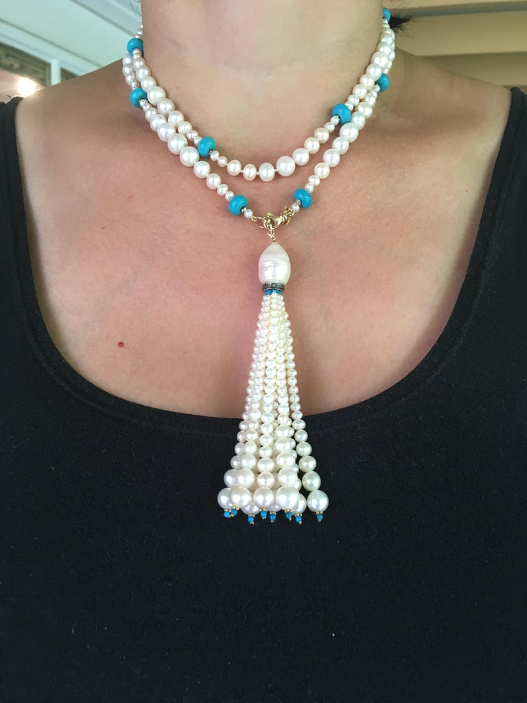 Graduated Pearl and Turquoise Necklace with 14k Gold Beads and Clasp with Tassel For Sale 7