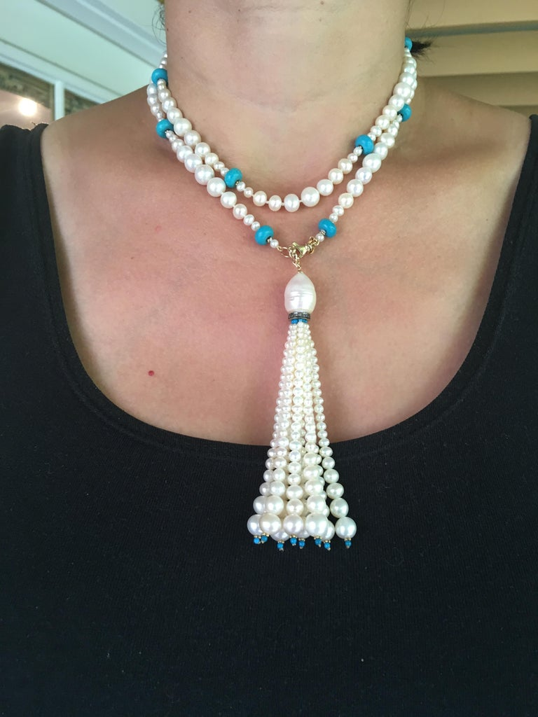 Graduated Pearl and Turquoise Necklace with 14k Gold Beads and Clasp with Tassel For Sale 8