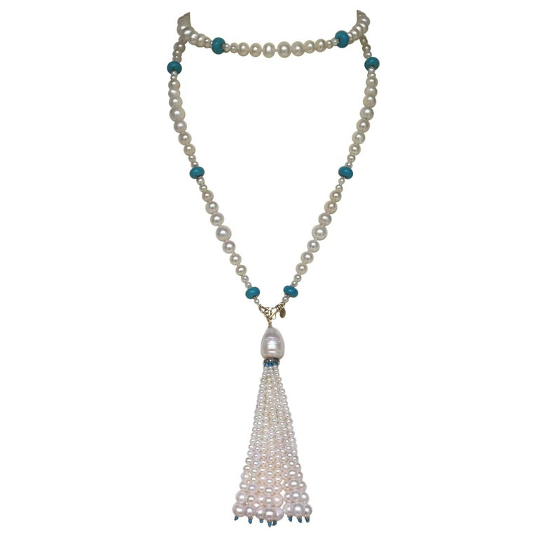 Artist Graduated Pearl and Turquoise Necklace with 14k Gold Beads and Clasp with Tassel For Sale