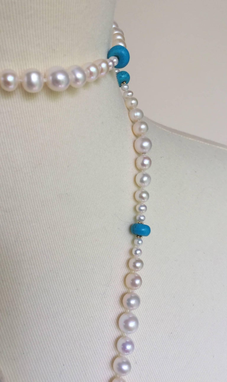 Women's Graduated Pearl and Turquoise Necklace with 14k Gold Beads and Clasp with Tassel For Sale