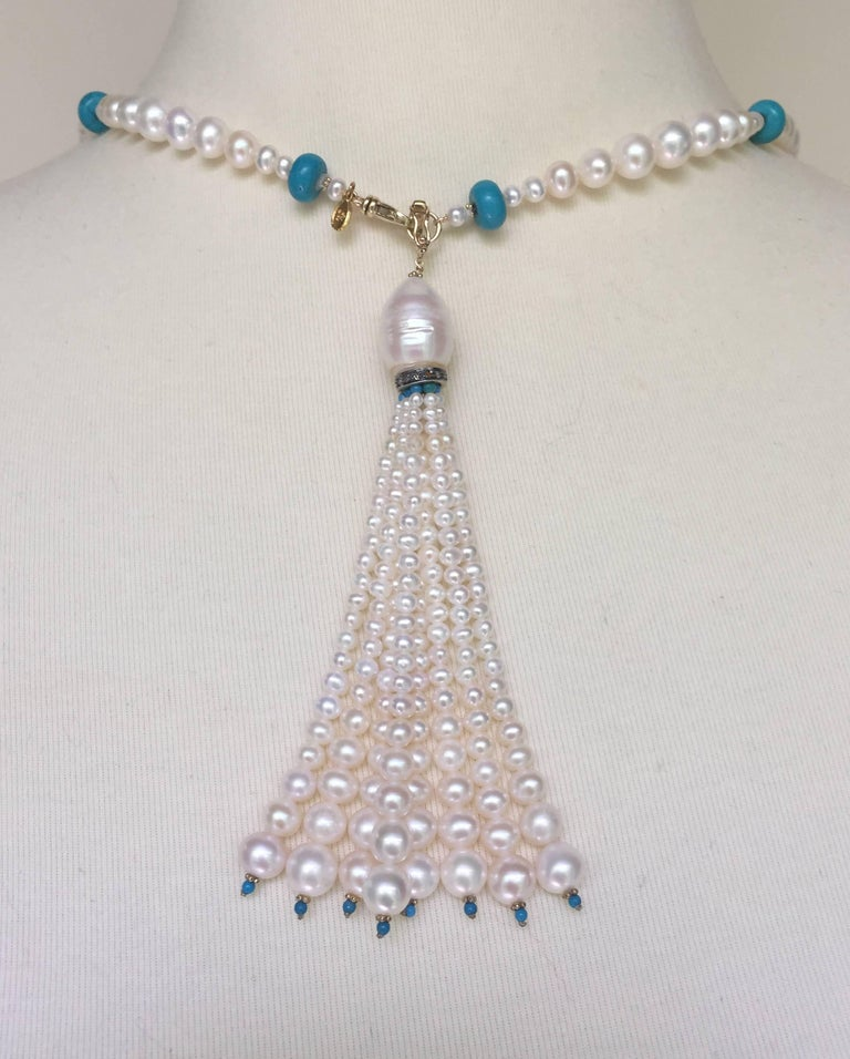Graduated Pearl and Turquoise Necklace with 14k Gold Beads and Clasp with Tassel For Sale 1